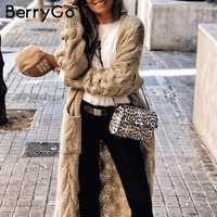 BerryGo Vintage mohair cardigan largo mujeres suéteres femenino manga larga bolsillo invierno cardigans Casual prendas de punto pure jerseys