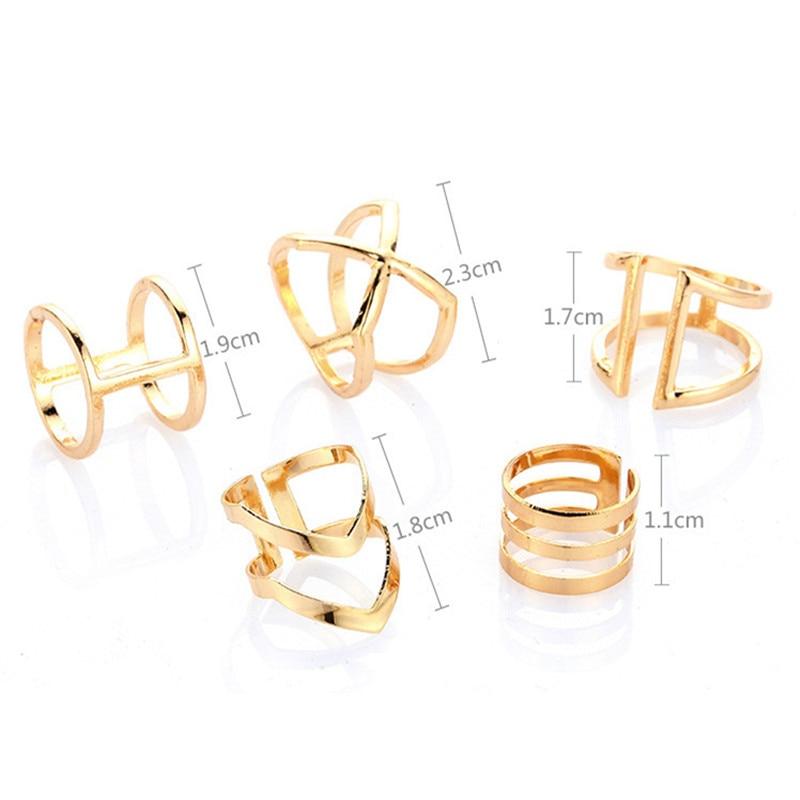 5Pcs/Set Gold Colour Rings Set For Women Geometric Irregular Ring Set Lady Charm Midi Rings Female Fashion Jewelry Wedding Gifts 5
