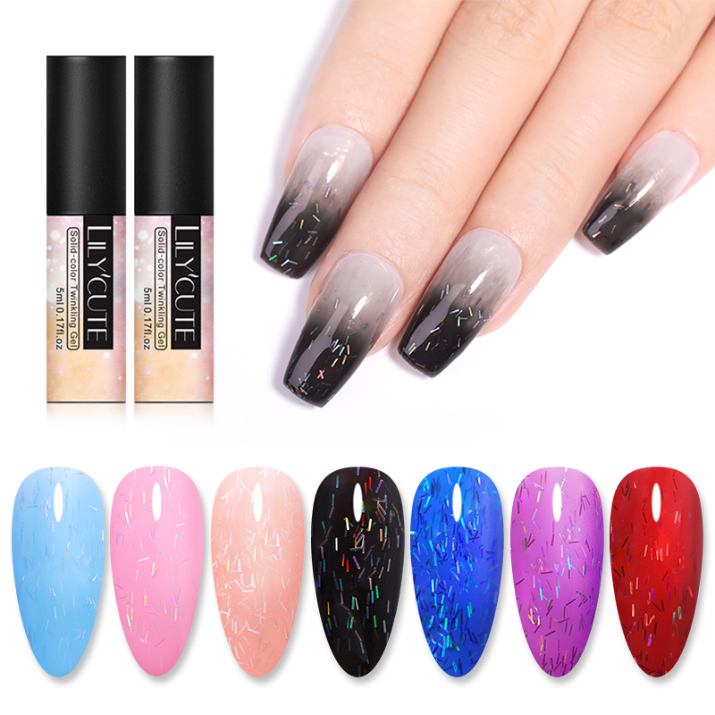 LILYCUTE 5ml Nail Gel Polish Irisated Striped Gel Glitter Sequins UV Gel Polish Nail Soak Off UV LED Nail Art Gel Varnish