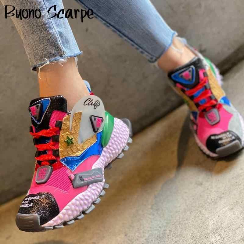 Ayakkabı Graffiti hayvan baskı platformu Sneakers hakiki deri sokak ayakkabı kalın alt baba Sneakers Lace Up eğitmenler ayakkabı