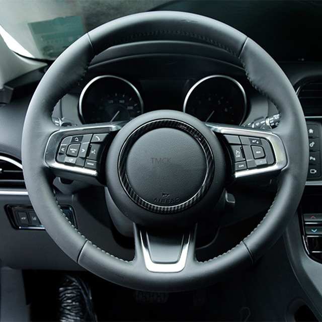 ABS Chrome Car Accessories Steering Wheel Ring Sticker Logo Frame Trim for Jaguar F-Pace X761 XE X760 XF/XFL X260 E-PACE F-TYPE 2