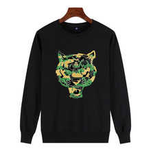 Logo tiger head + camouflage Print 2019 New Men 100% Cotton Sweatshirt Green Streetwear fashion Mens Pullover