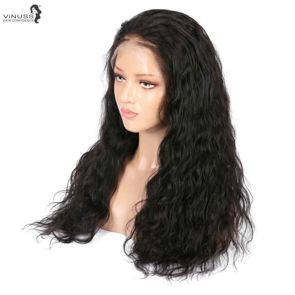 Peluca Frontal de encaje 360 sin pegamento con pelo de bebé cabello Remy brasileño onda Natural de encaje Peluca de cabello humano Pre desplumado