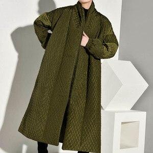 Image 4 - LANMREM PLaided bawełny wyściełane nowy zielony kolor płaszcz z długim rękawem luźny krój kobiety parki moda fala nowa jesienna zima 2020