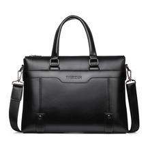 Bolsa de couro masculina, moda simples, ponto, famosa, de negócios, bolsa de couro para laptop, com alça carteiro, para laptop