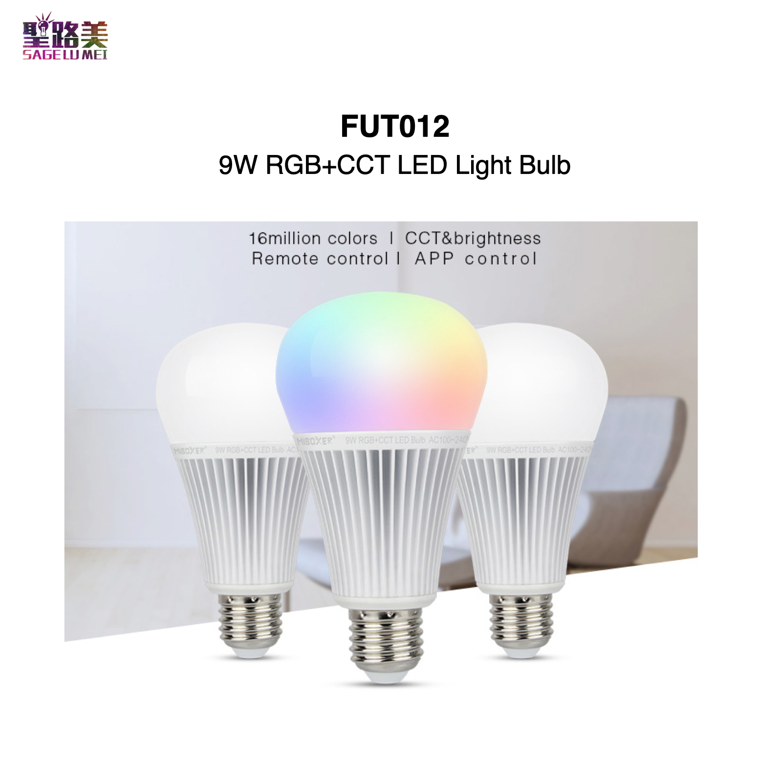 <font><b>FUT012</b></font> 9W RGB+CCT LED Light Bulb Base Type E27 Smartphone APP Control 2.4GHz RF Remote Controllable MiBOXER Mi-Light image