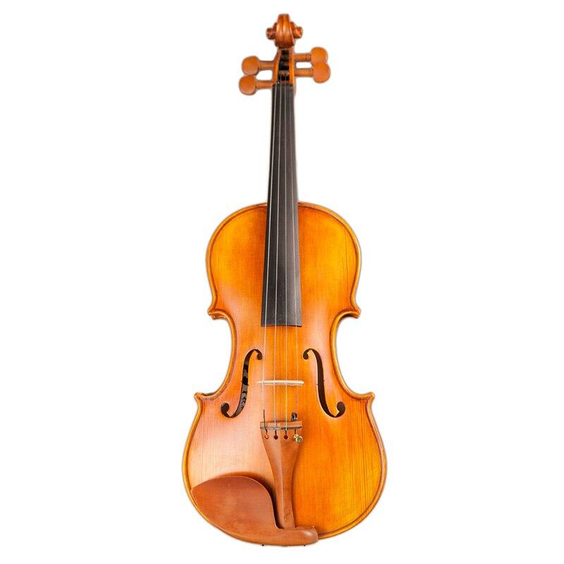 Полноразмерный натуральный клен ручной работы усовершенствованная Скрипка для лица из черного дерева чехол с бантом канифоль немой