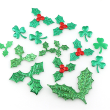 100 шт., украшение стола, аппликации из ягод и листьев холли для рождественского украшения, лазерное украшение «сделай сам» зеленого цвета