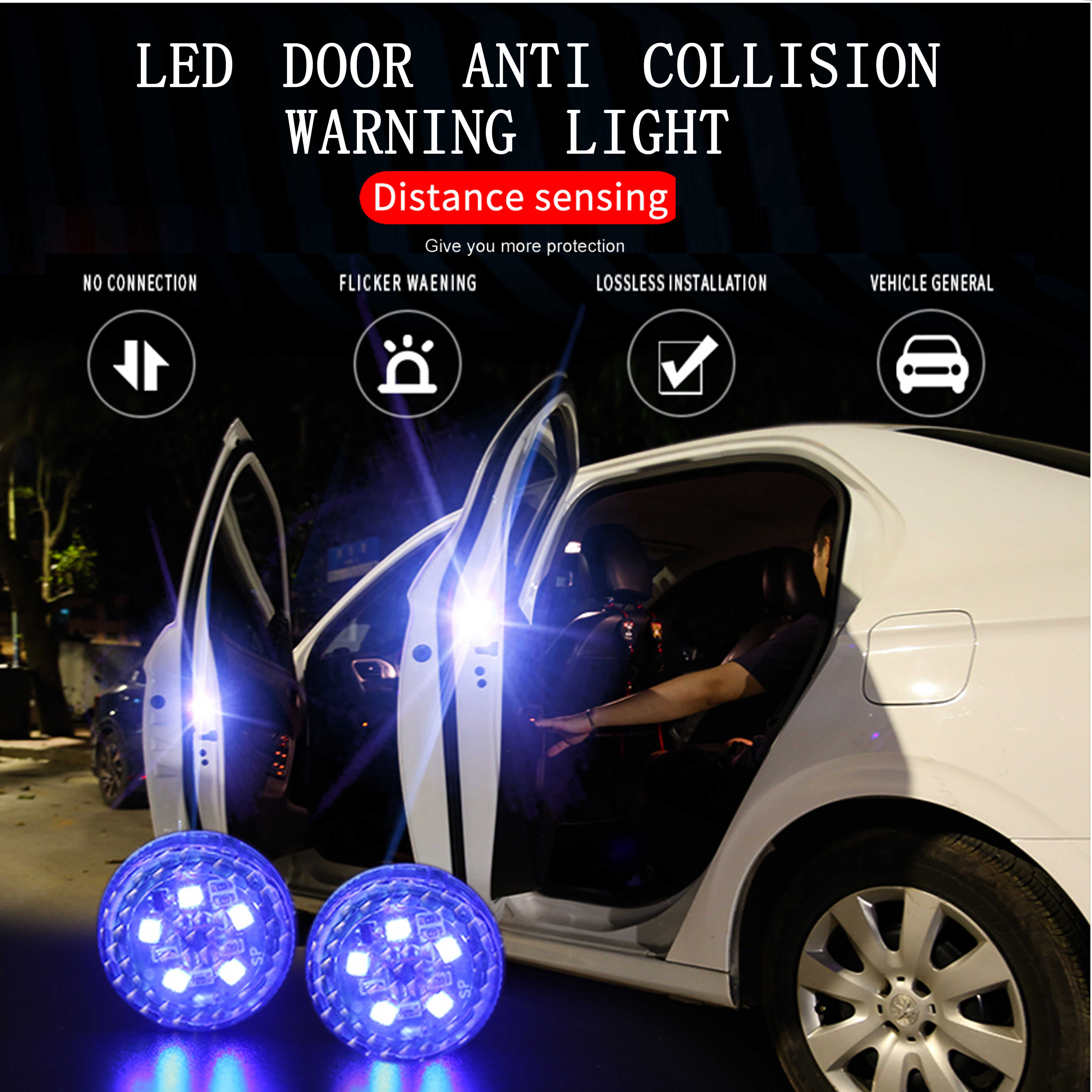 SMKJ Universal Car Door Wireless Safety LED Light Warning Door Light Red LED Strobe Flicker for Anti rear-end Collision Magnetic induction switch Easy installation No Wiring