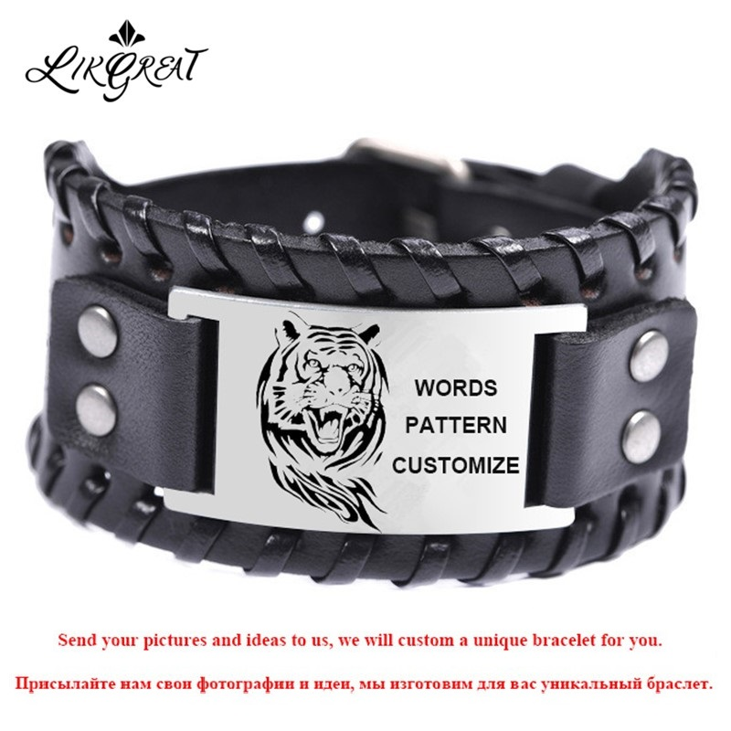Likgreat Customized Wide Genuine Leather Bracelets for Men Pattern Personalized Name Words Photo Engraved Custom Jewelry Gifts