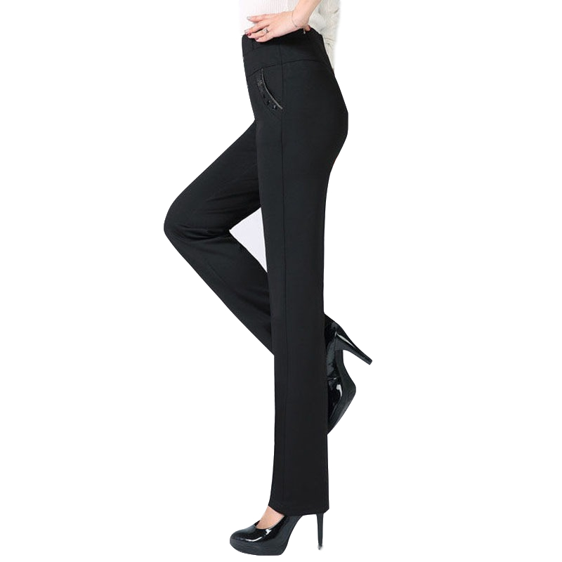 Women High Waist Casual Pants 2019 New Summer Autumn Elasticity Straight Pants Slim Trousers Female Khaki Black Plus Size XL-5XL