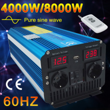 Afstandsbediening Zuivere Sinus Omvormer Dc 12V Naar Ac 220V 230V 60Hz Led Voltage Display 5000W/6000W/8000W Auto Inverter Eu Socket