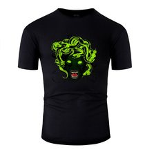 Fashion Gothic Medusa T-Shirt For Men Natural Men T-Shirts Army Green Solid Color 2020 Short Sleeve Tee Shirt(China)