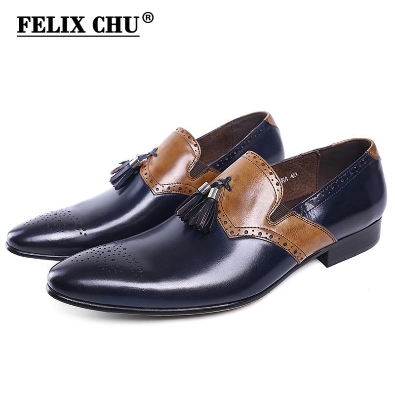 FELIX CHU ฤดูใบไม้ร่วงใหม่หนังผู้ชายอย่างเป็นทางการรองเท้าพู่ Pointed Toe งานแต่งงานสีฟ้ารองเท้าผู้ชายแบน-ใน รองเท้าทางการ จาก รองเท้า บน   1