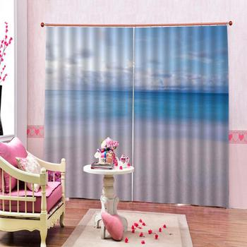 stereoscopic curtains  blue beach curtains Luxury Blackout 3D Window Curtains For Living Room Bedroom Customized size