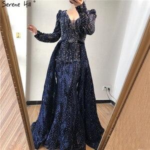 Image 5 - Dubai Blue Deep V Crystal Sexy Evening Dresses 2020 Long Sleeves Luxury Mermaid Evening Gowns Serene Hill Plus Size LA70223