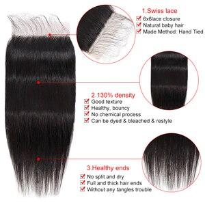 Image 4 - Cabelo reto fechamento do laço marrom 4*4 5*5 7*7 fechamento do laço brasileiro remy do cabelo humano pré arrancado com o cabelo do bebê silkswan