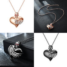 Cuore Punk Delle Donne Del Cranio Del Pendente di Cristallo Nero Collane Dei Monili Dropshipping(China)