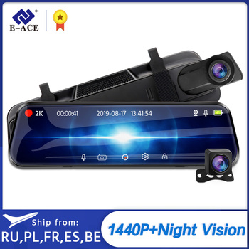 E-ACE A37 Car Dvr 10.0 Inch Rear View Mirror 2K Dash Cam 1080P Car Camera With Rear View Camera Video Recorder Registrar Dvrs