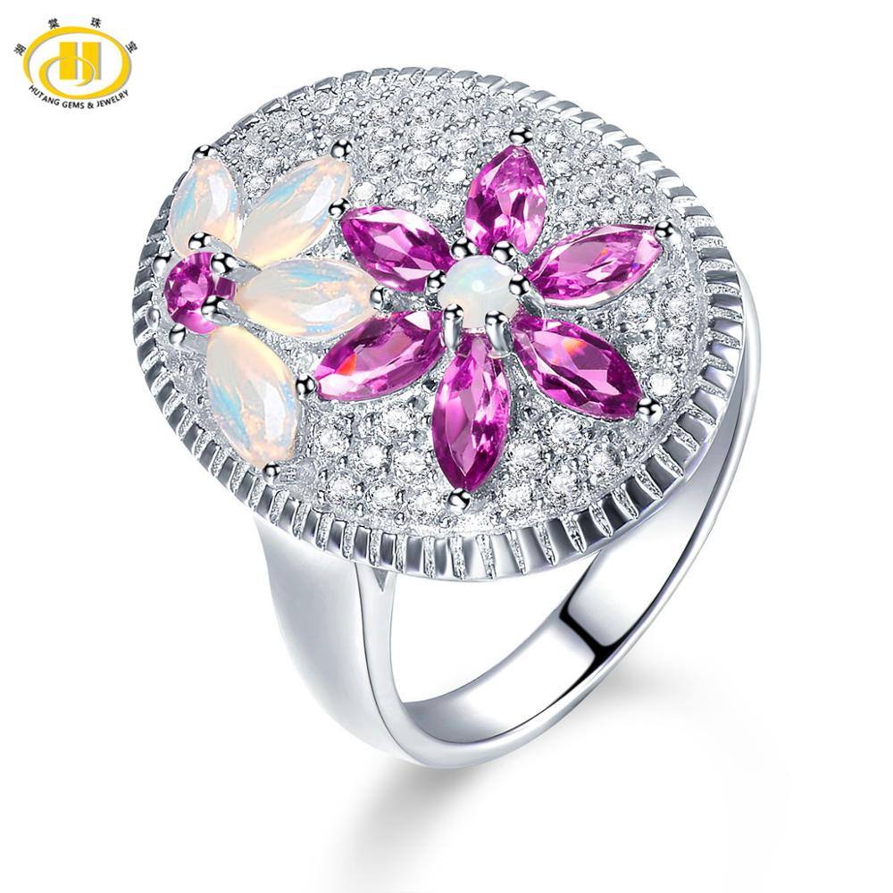 Hutang Opal Wedding Ring Limited Edition Design Natural Gemstone Pink Garnet Solid 925 Sterling Silver Rings Fine Jewelry
