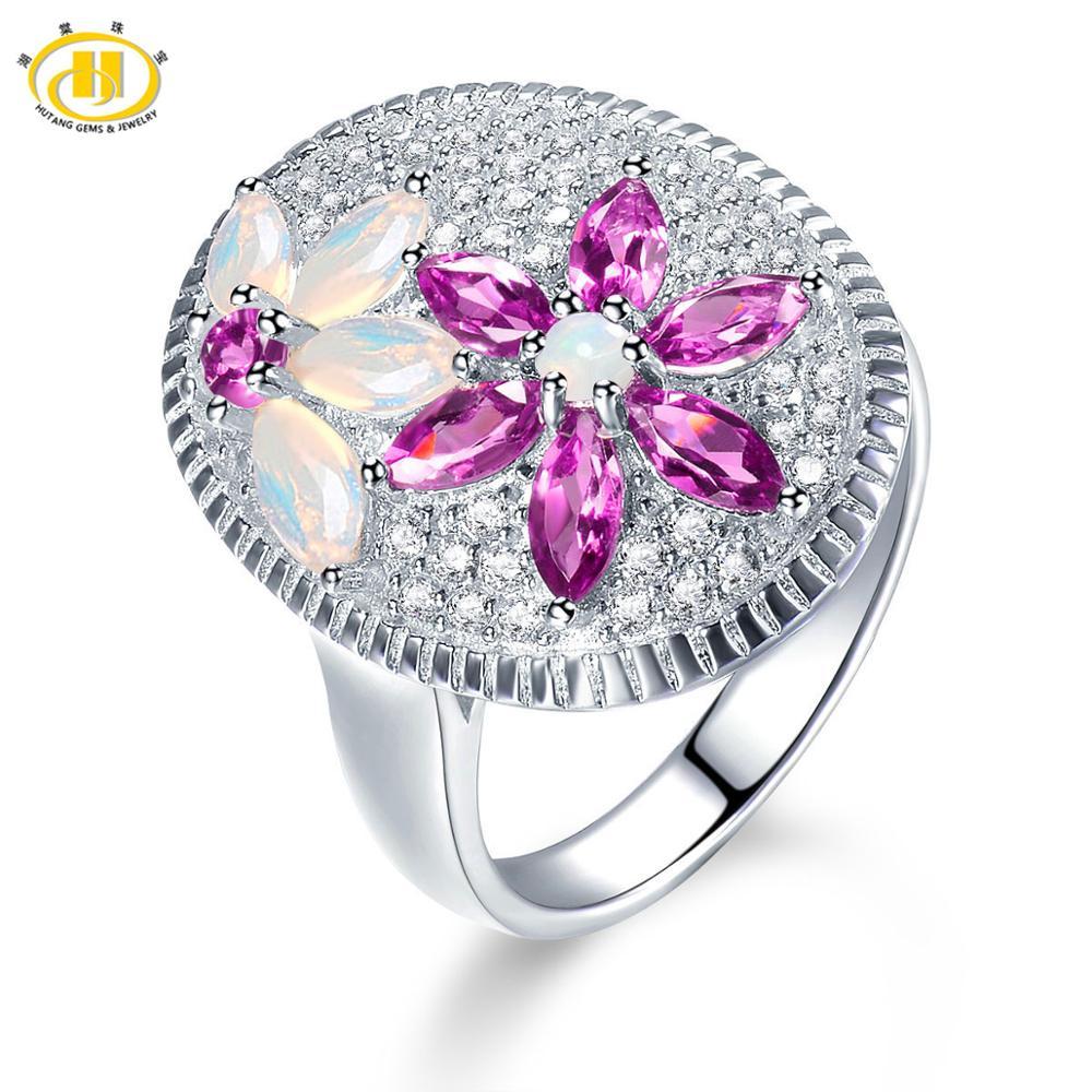 Hutang opale bague de mariage pierres précieuses naturelles rose grenat solide 925 argent Sterling Fine bijoux de mode pour ses cadeaux cadeau nouveau