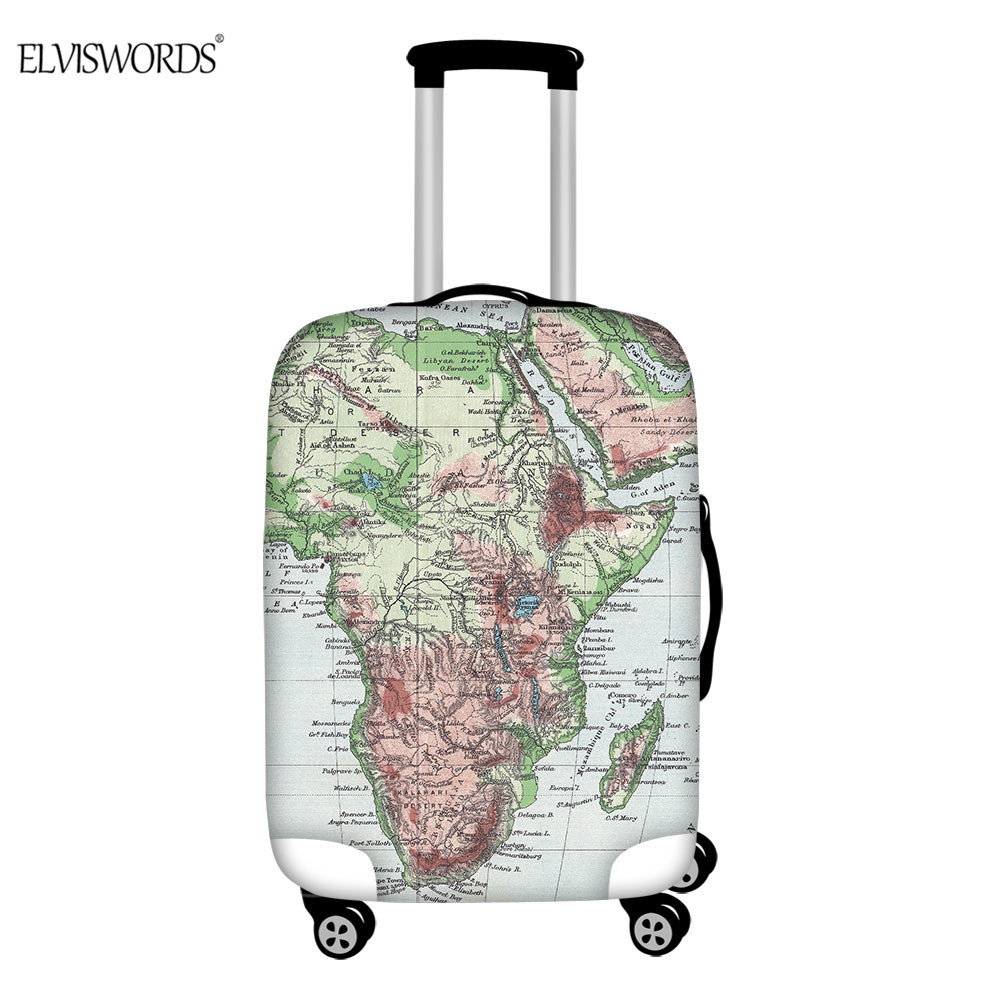 ELVISWORDS Luggage Cover World Map Suitcase Protector For 18-32 Inch Elastic Thick Dust Rain Cover Travel Accessories