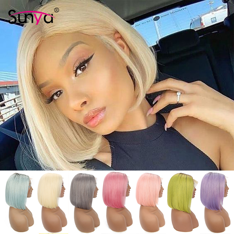 Ombre Short Bob Lace Front Human Hair Wigs 1b Pink Grey Purple Blue 613 Blonde Remy Brazilian straight 13x4 Lace Front Wig image