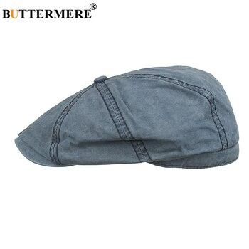 BUTTERMERE Light Blue Newsboy Cap for Women Men Cotton Flat Casual Beret 2020 New Arrival Solid Octagonal Hat