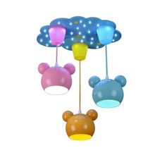 Children Chandelier Bear Cartoon Personality Baby ChildrenS Bedroom Boy Girl Music Creative E27