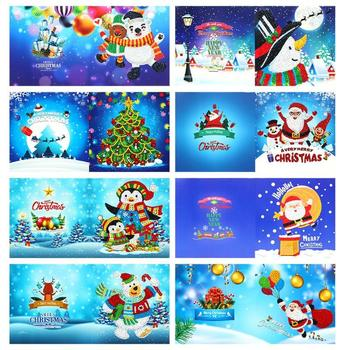 4/6/8/12pcs Christmas Theme Handmade Cards DIY Special Shaped Diamond Painting Birthday Cards Kids Gifts Party Decoration New image