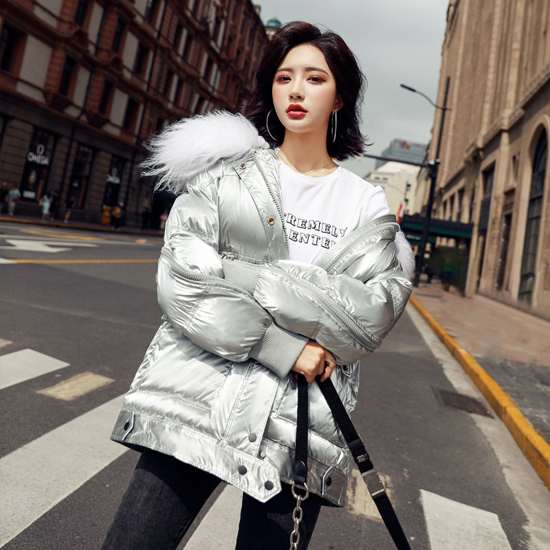Bright face   down   jacket female long section 2019 new large fur collar women's clothing fashion slim   down     coat   women outerwear