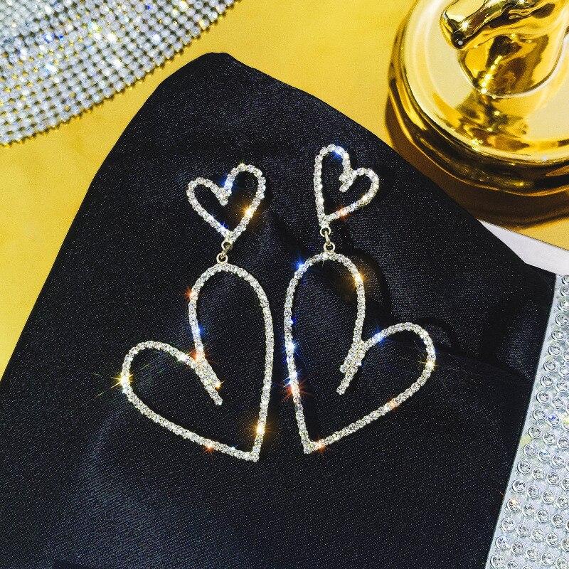 FYUAN Geometric Full Rhinestone Drop Earrings for Women Bijoux Fashion Shiny Heart Crystal Dangle Earrings Jewelry Gifts