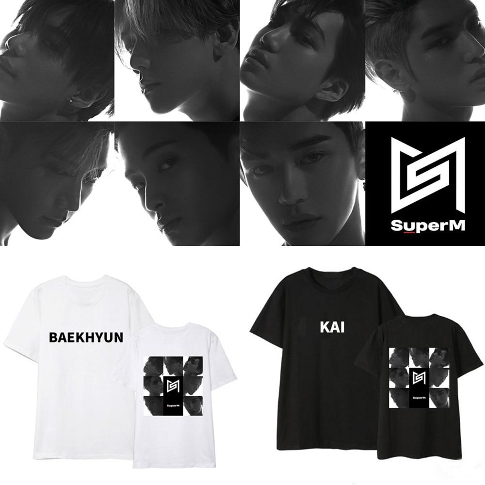 SUPERM Surrounding Clothes Kpop Korean Loose Short-sleeved T-shirt Fashion Shirt Women/men Casual Summer Cotton T-shirt