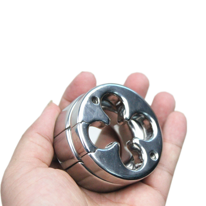 The Hole Shape of Flower Stainless Scrotum Pendant Steel Penis Ring,Restraint Chastity Device Testicle Cock Ring,Sex Toys,B2-79