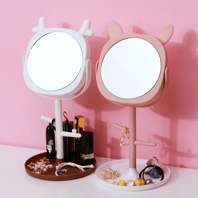 Espelho para maquiagem de mesa, caixa de