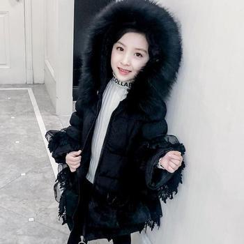 2020 Winter Toddler Girls Long Jacket Kids Lace Keep Warm Thick Fur Cotton-padded Parkas Coats Children Girl Christmas Outerwear