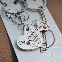 Metal Key To Heart Lovers Couple Keychain Keyring Keyfob Promotion Gift Key Chain Ring Fob CNYOWO(China)