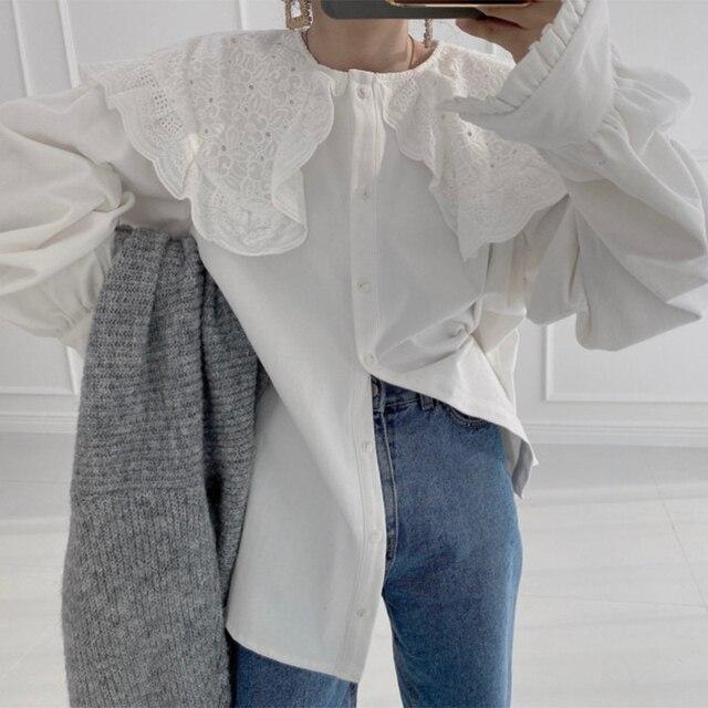 Ezgaga Blouse Women Korean Chic Vintage Long Sleeve Turn-Down Collar Embroidery Hook Flower Loose Solid Ladies Shirts Fashion 4