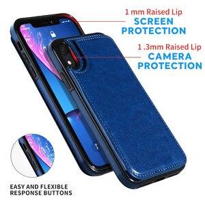 Роскошные Бизнес чехол для телефона из искусственной кожи для iPhone XR XS Max 6 6s 7 8 плюс 5S SE 5 нескольких держателей карт Kickstand чехол-книжка с застежкой