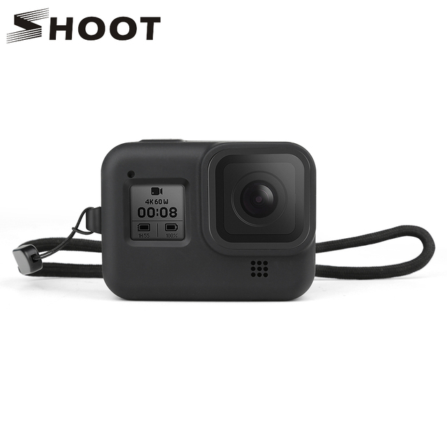 SHOOT for GoPro Hero 8 Black Protective Silicone Case Soft Bag Housing Cover Shell + Tempered Film for Go Pro Hero 8 Accessories