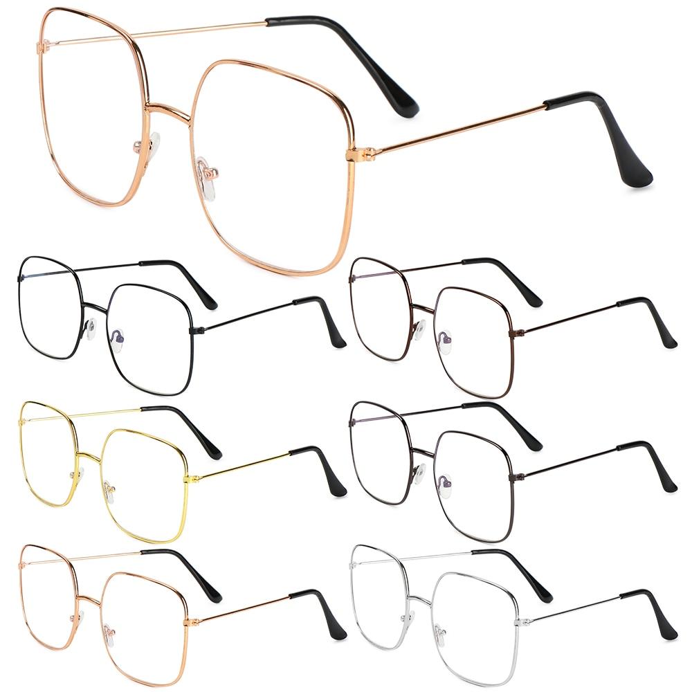 Marco de Metal de gran tamaño gafas Unisex de moda Vintage Plaza anti-UV gafas ópticas gafas de visión gafas de cuidado