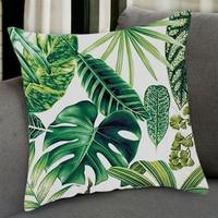 Tropischen Pflanzen Palm Blatt Grüne Blätter Monstera Kissen Abdeckungen Hibiscus Blume Kissen Abdeckung Dekorative Beige Leinen Kissen Fall