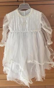 Милое белое кружевное платье на крестины на заказ, платье для первого дня рождения, вечерние платья на крестины для детей 0-24 месяцев
