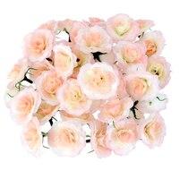 500pcs Artificial Flowers Silk Carnation Flower Heads Various Colors For Bridal Bouquet Wedding Centerpieces Craft DIY (Pink)