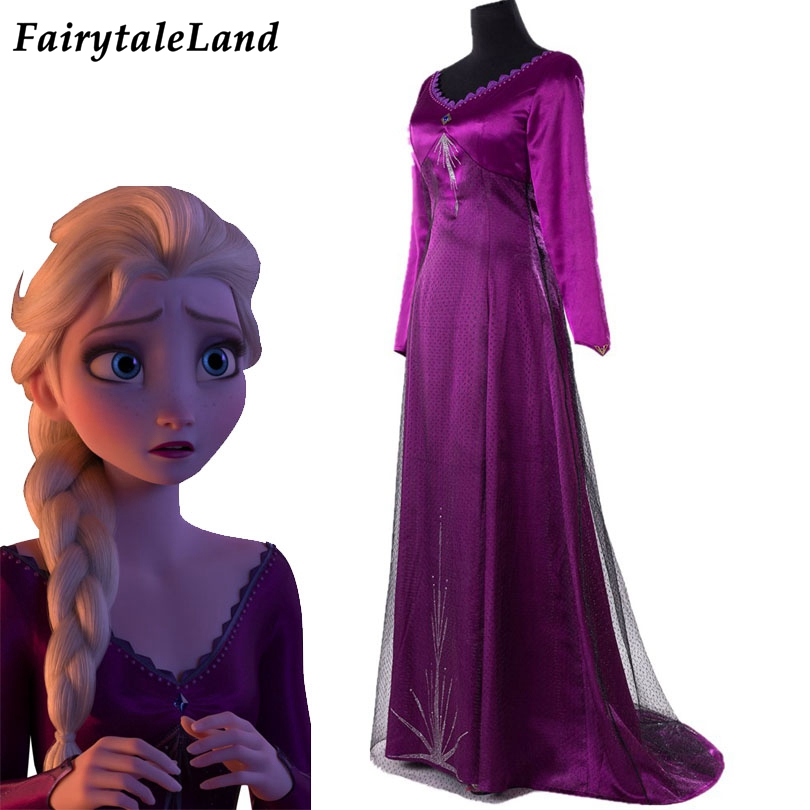 Elsa Nightgown Cosplay <font><b>Halloween</b></font> Ice Princess Elsa Coplay <font><b>Costume</b></font> Adult <font><b>Sexy</b></font> Purple Dress Suitable Nightdress image