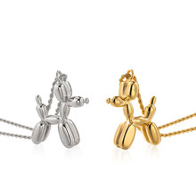Stainless Steel Poodle Balloon Dog Animal Charm Necklace Balloon Puppy Dog Pendant Necklace for Women Girls Teens Girlfriends(China)