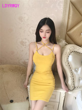 2019 new Japanese style hanging neck low-cut strap sexy tight-fitting hip dress Spaghetti Strap  V-Neck printed thick strap form fitting dress