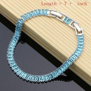 Image 2 - 925 argent Birdal Dubai bijoux ensembles Hyperbole bleu Zircon pierre pour les femmes fête boucles doreilles/pendentif/collier/anneaux