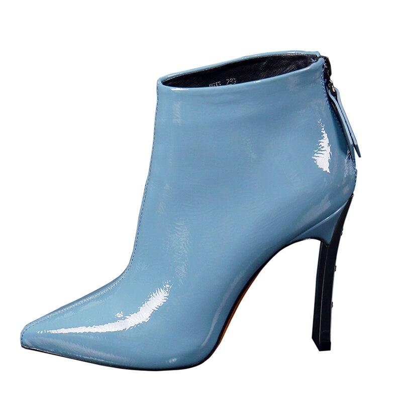 2019 sivri burun kadın yüksek topuklu yarım çizmeler kalın topuk rugan kadın ayakkabısı kışlık botlar geri zip siyah bej mavi