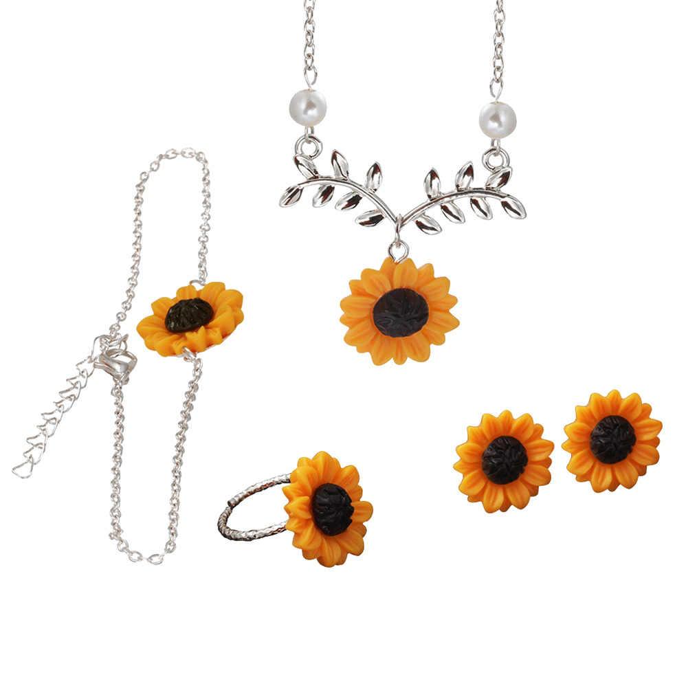 5 Stks/set Delicate Fashion Zonnebloem Aufhänger Halskette Stud Ohrringe Ring Armband Sieraden Creatieve Imitatie Parel Harajuku